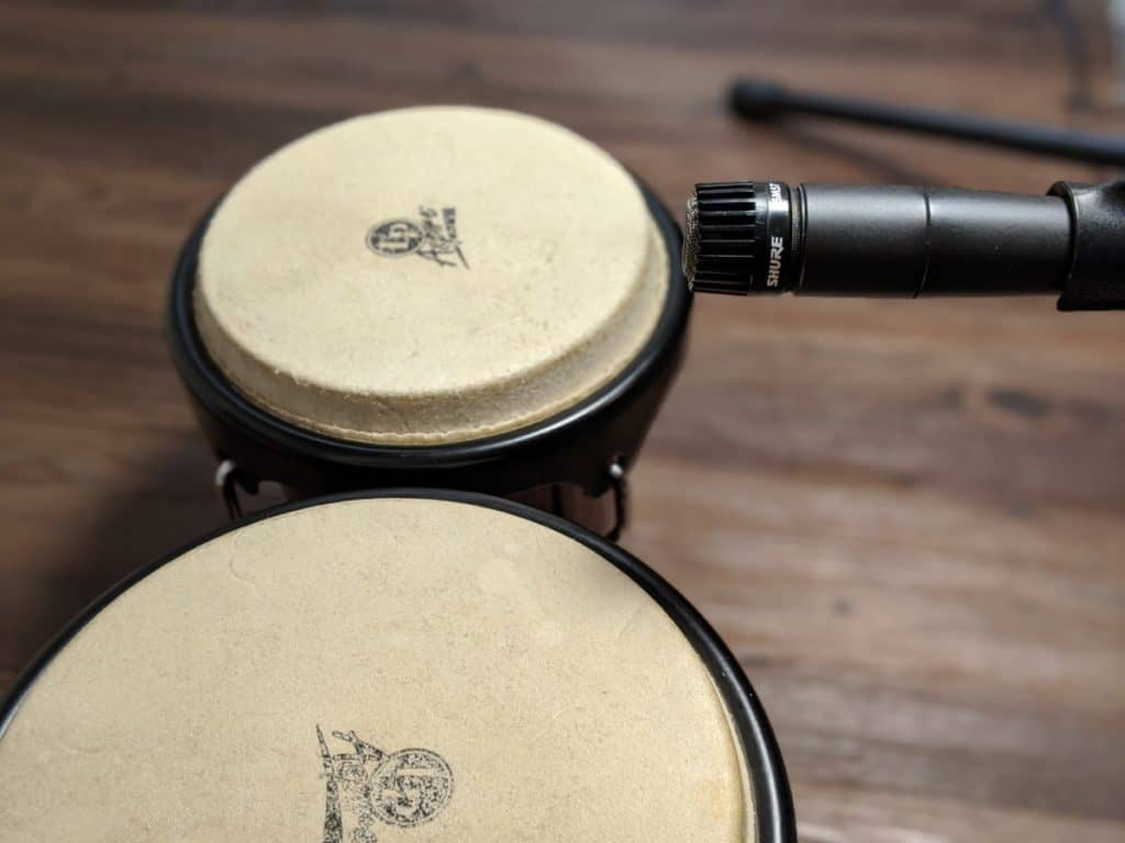 shure-dynamic-mic-3-inches-above-bongo-drumheads